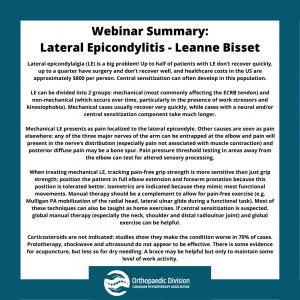 Webinar Summary - Lateral Epicondylitis